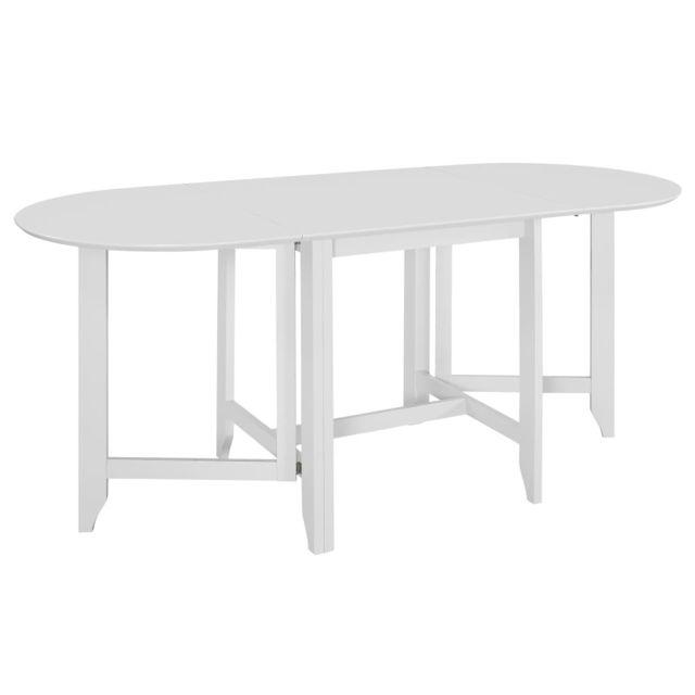 Vidaxl Table à Dîner Extensible Blanc Mdf Repas Salle à Manger Maison Cuisine