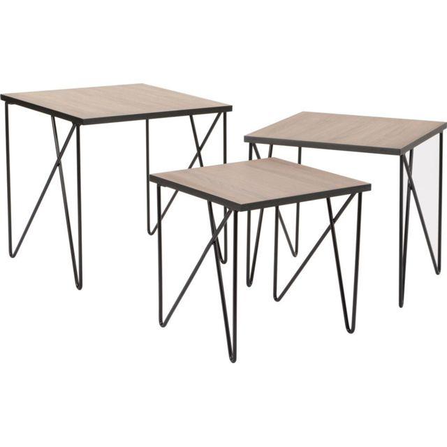 AMADEUS Tables gigognes en métal esprit industriel Lot de 3
