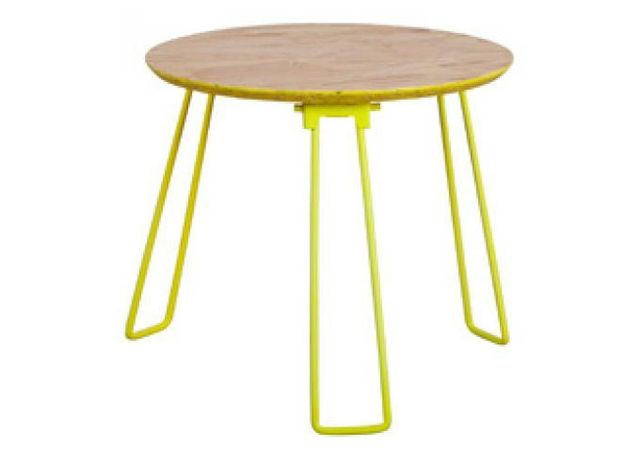 Declikdeco Table D Appoint Pietement Metal Jaune Fluo 40x36 Cm