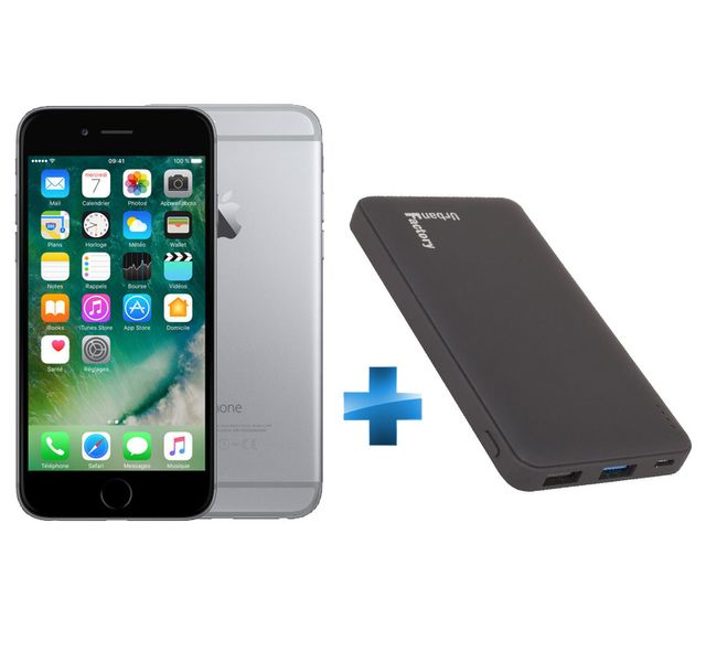 APPLE - iPhone 6 - 64 Go - Gris Sidéral - Reconditionné + Batterie de secours Fast Charge 10 000 mAh - Noir