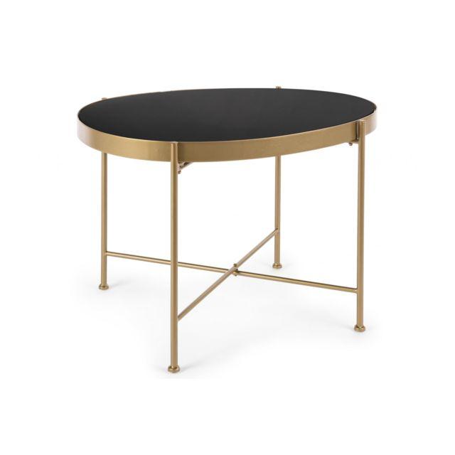 HELLIN Table de salon en verre et métal - ORIENT