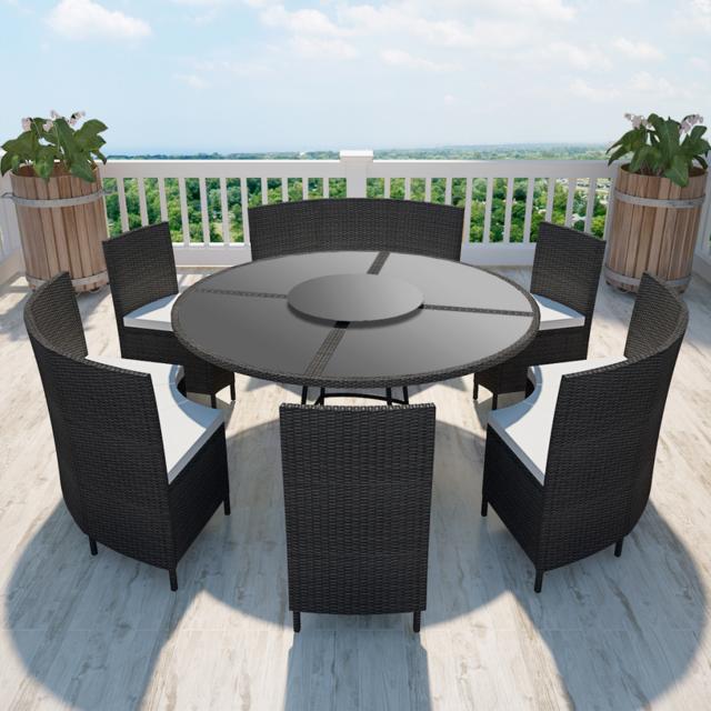 Vidaxl - Salon de jardin noir en polyrotin table ronde et ...