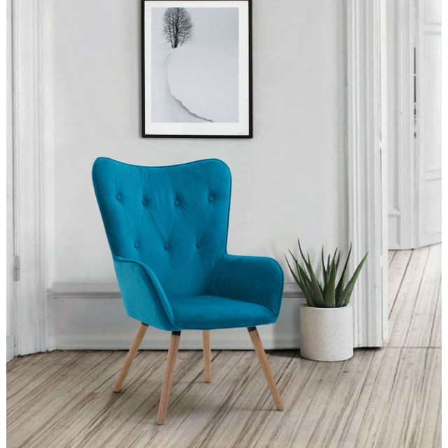 Home Design International Fauteuil en Tissu Bleu Canard Style Scandinave