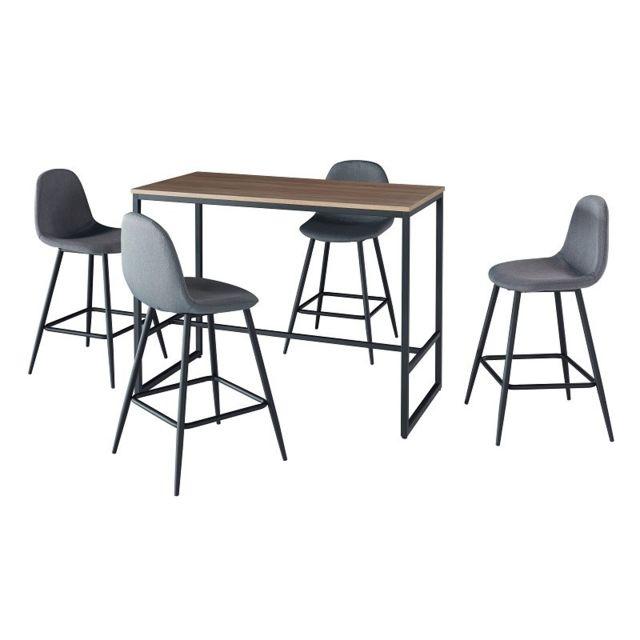 Croissant Price Factory - Ensemble table haute mange debout, bar, + 4 IS-81