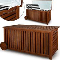 Superbe Boîte de rangement avec roulettes 117 cm de bois en acacia Coussin de jardin Boîte Coffre Coffre Neuf