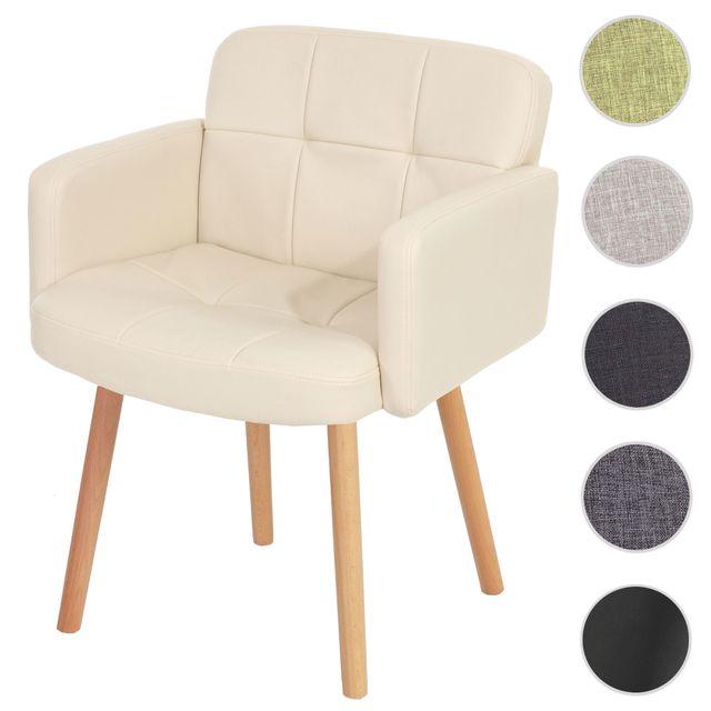 Chaise de salle à manger Orlando Ii, fauteuil, style rétro ~ similicuir, crème
