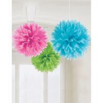 Amscan - Boules de décoration fluo multicolores x3
