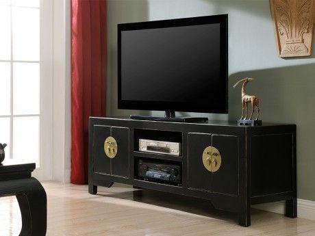 Vente-unique Meuble Tv Foshan - 4 portes & 2 niches - Bois d'orme - Noir