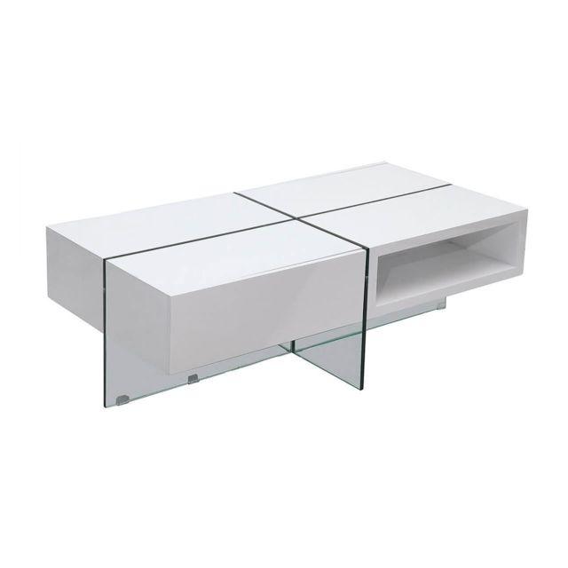 La Maison Du CanapÉ Table basse laquée Jade - Médium - Blanc - Blanc