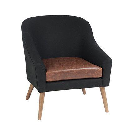 Fauteuil club noir et assise Pu marron