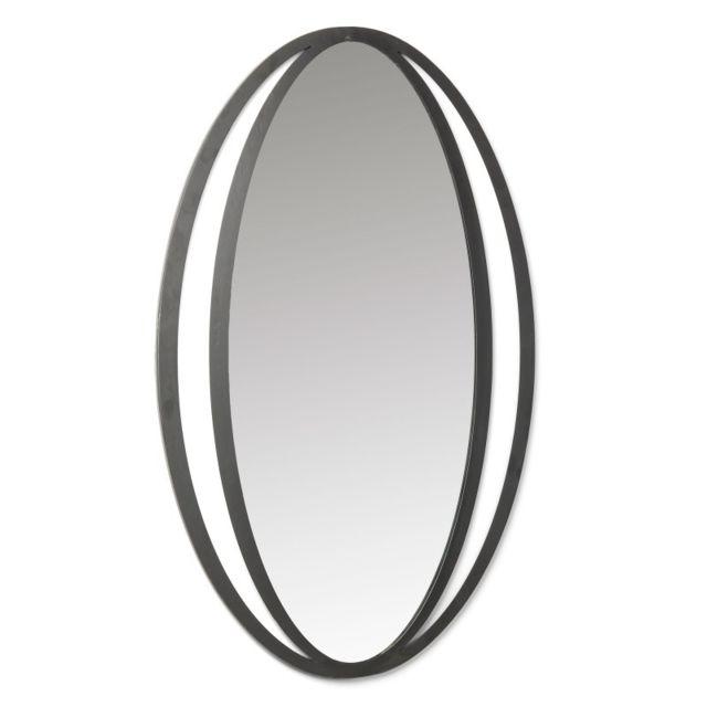 Ma Maison Mes Tendances Miroir ovale 65x100 en métal noir Aostin - L 65 x l 100 x H 1.5