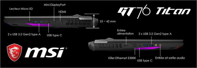 MSI GT76 - Réseau et connectique