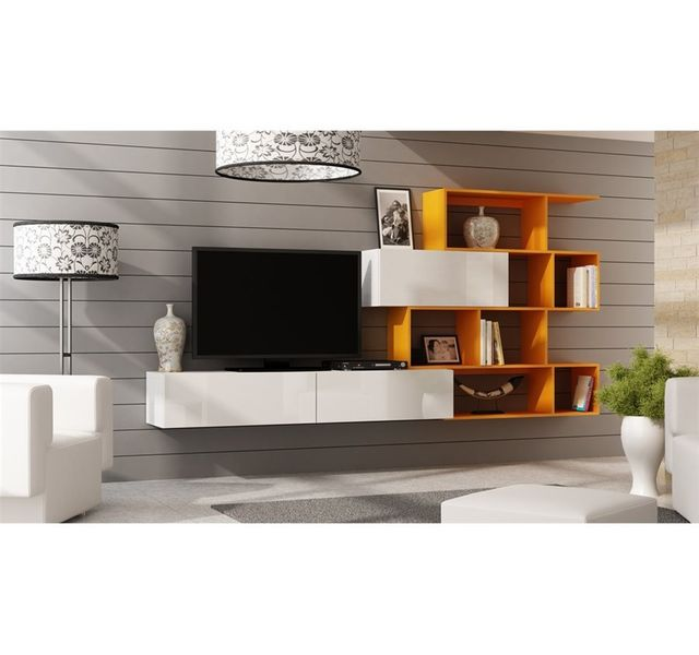 CHLOE DESIGN Ensemble meuble tv design Mariana - blanc et orange