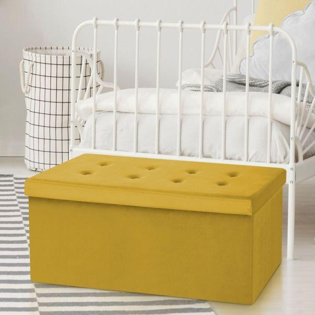 code promo d5282 52454 Idmarket - Banc coffre rangement 100 cm en velours jaune ...