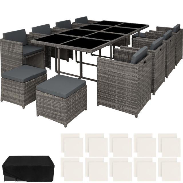 Salon de Jardin NOUVELLE ORLEANS Résine Tressée et Aluminium Encastrable 1  Table 8 Fauteuils 4 Tabourets Gris + 1 Housse