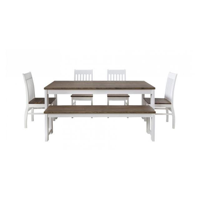 Homestyle4u Table A Manger Ou De Cuisine 180x90 Cm Avec Banc Et