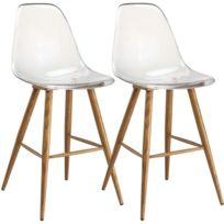211a9423ca499 Inside 75 - Lot de 2 chaises de bar design scandinave Osana en  polycarbonate transparent