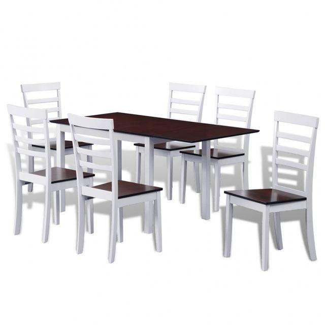 Casasmart Lot d'une table extensible et 6 chaises