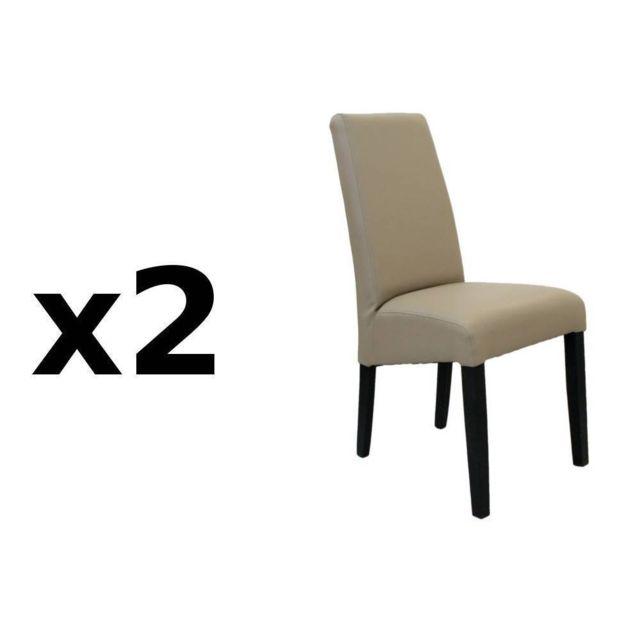 Inside 75 Lot de 2 chaises design MalmÔ polyuréthane taupe