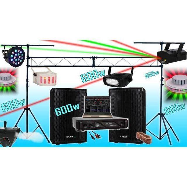 Ibiza Sound Pack sono 600w - ampli - enceintes - 6 jeux de lumière - machine a fumée - portique de 3m - padj led