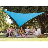 Jardideco - Kit voile d'ombrage triangulaire 5,00 x 5,00 x 5,00 m - Bleu azur