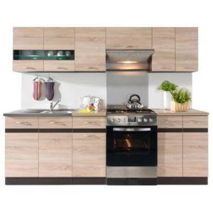 aucune junona cuisine complete 2m40 avec clairage led d cor chene sonoma sans. Black Bedroom Furniture Sets. Home Design Ideas