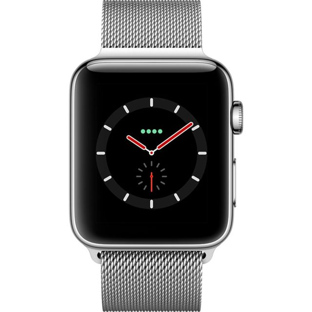 APPLE Watch 3 Cellular 42 - Acier / Bracelet milanais argent Siri parle - Cardiofréquencemètre - Accéléromètre - Altimètre barométrique