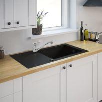 Générique - Evier de cuisine noir 1 Grande cuve reversible à encastrer Minéral composite et Mitigeur d evier