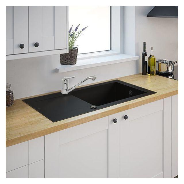 g n rique evier de cuisine noir 1 grande cuve reversible. Black Bedroom Furniture Sets. Home Design Ideas
