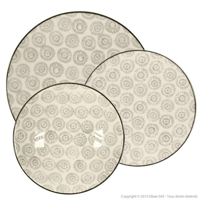 f82dfc40d8593c Haveli Republic - Service de table peint main motif floral - 18 pièces Samoa