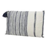 Decoris - Coussin déhoussable avec grand pompon 100% coton motif ethnique Sian - Motif 1