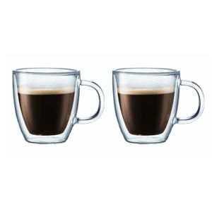 bodum set de 2 tasses espresso double paroi 15cl 10602 10 verre transparent pas cher. Black Bedroom Furniture Sets. Home Design Ideas