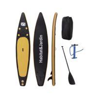 HABITAT ET JARDIN - Paddle Sup wave pro - 365 x 78 x 15 cm - Noir
