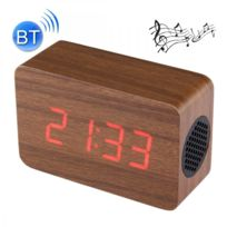 Auto-hightech - Haut-parleur stéréo sans fil multifonctionnel Bluetooth en bois Led avec l'horloge et alarme de musique de 64 accords