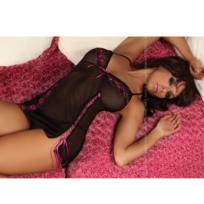 Livco Corsetti - Isabelle Babydoll Negro Flower Rosa L/XL