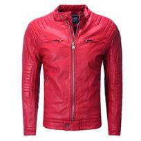 Freeside - Veste Pu cuir coupe ajustée Veste homme 237 rouge