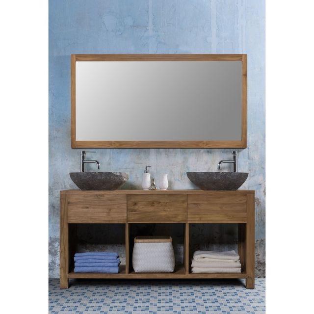 Ensemble de salle de bain en bois de teck 2 vasques et 1 miroir