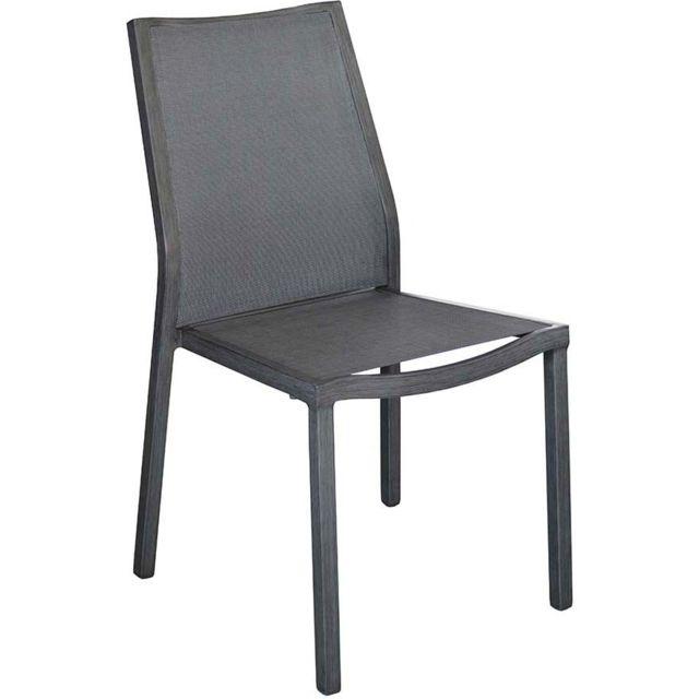 PROLOISIRS Chaises en aluminium brossé Ida Lot de 2