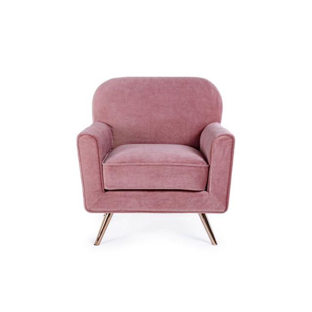 HELLIN fauteuil en velours et métal - LILIE
