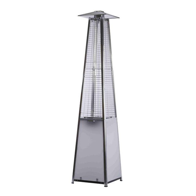 FAVEX Parasol chauffant gaz en aluminium et acier 11kW hauteur 225cm LED FLAMME LUMINEUSE