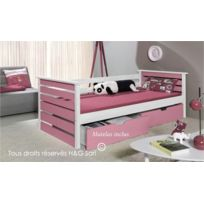 House and Garden - Pack Lit Enfant En Pin Massif Blanc & Rose + Matelas - Katia