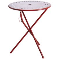 AUBRY GASPARD - Table de terrasse pliante rouge