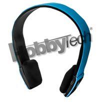 Hobbytech - Casque stéréo Bluetooth qualité Hifi couleur bleu + micro intégré