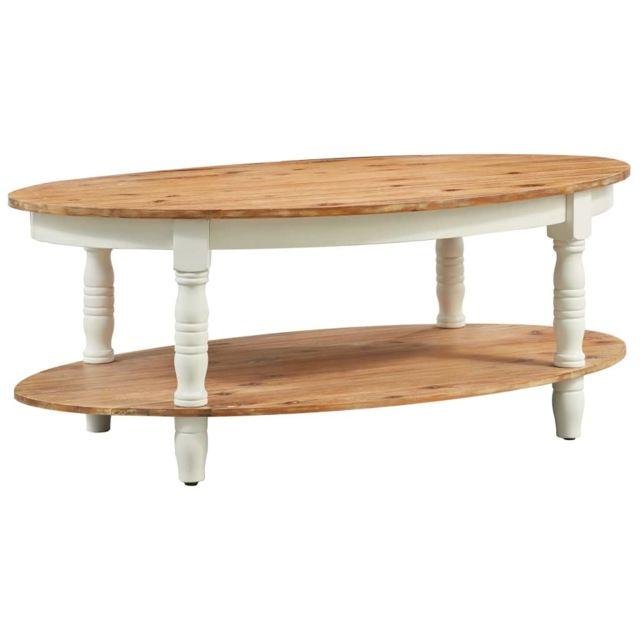 Vidaxl Bois d'Acacia Massif Table Basse Table d'Appoint Salon Canapé Maison
