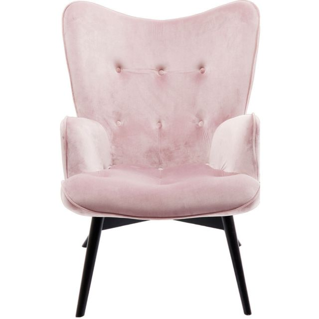 Karedesign Fauteuil Vicky velours rose Kare Design
