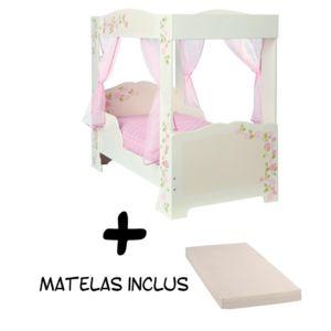 bebe gavroche lit fille princesse baldaquin matelas blanc rose 140cm x 70cm pas cher. Black Bedroom Furniture Sets. Home Design Ideas