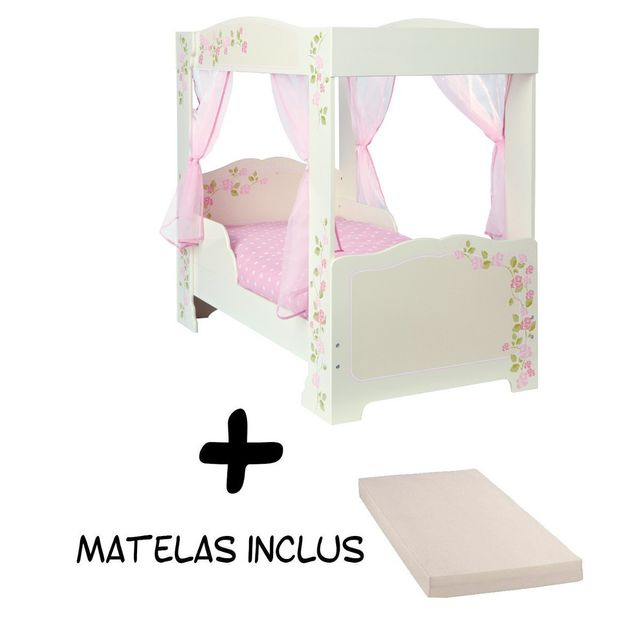 bebe gavroche lit fille princesse baldaquin matelas blanc rose 70cm x 140cm pas cher. Black Bedroom Furniture Sets. Home Design Ideas