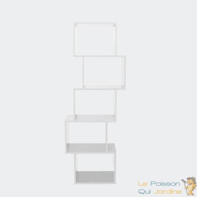 Aqua Occaz Meuble étagère Bibliothèque Forme Zig Zag 5 Cases