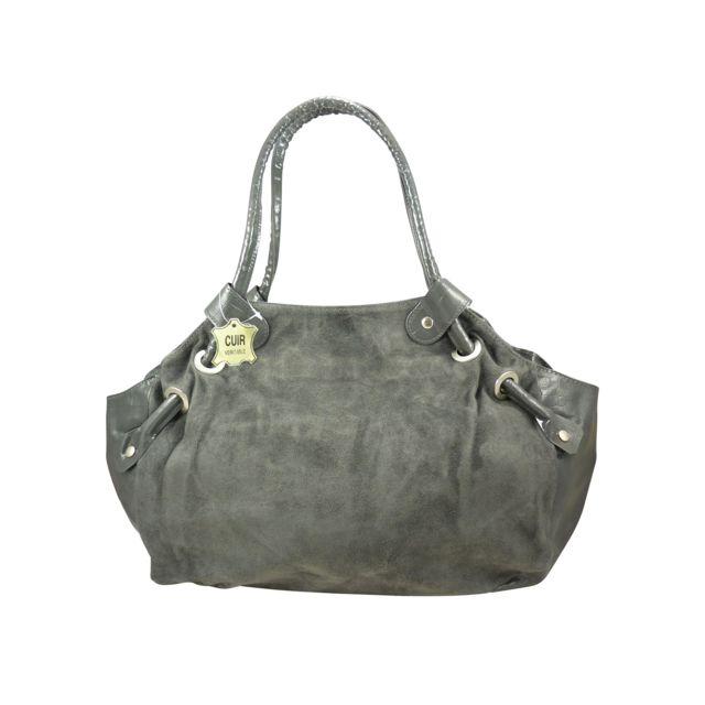 Chaussmaro - Sac à main cabas femme bi-matière style croco sur les cotes en 998d8c24635