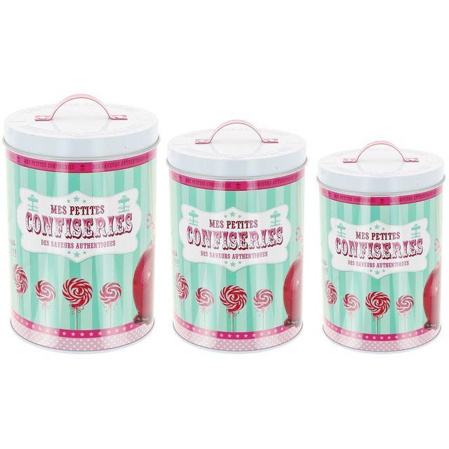 Promobo Set Lot De 3 Boîte de Rangement Café Thé Bonbons Sucrerie Design Gourmand Vintage Pomme D'amour